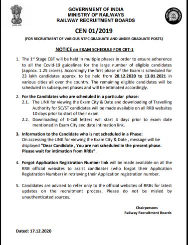 Railway RRB NTPC Varies Post Exam Date Schedule for Exam 2020