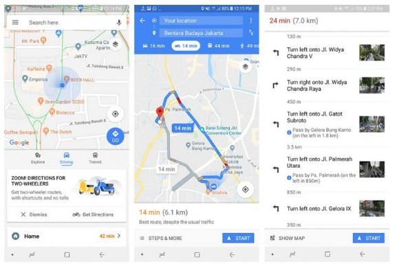 Cara Gunakan Rute Khusus Sepeda Motor di Google Maps