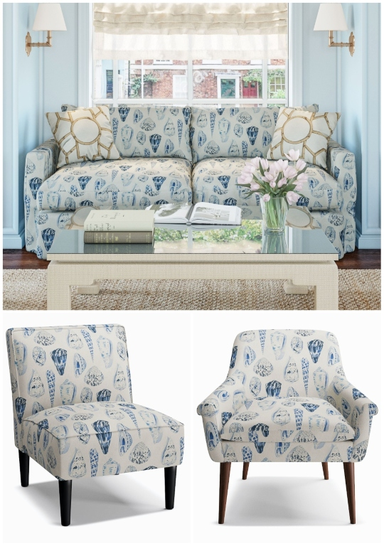 Shell Pattern Fabric Upholstered Chairs Sofa Furniture
