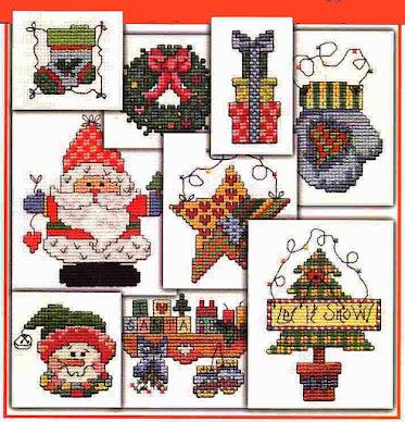 Minimotivi e bordi per Natale a crocette