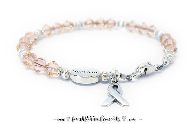 Peach Ribbon Bracelets - Uterine Cancer Survivor Ribbon Bracelet