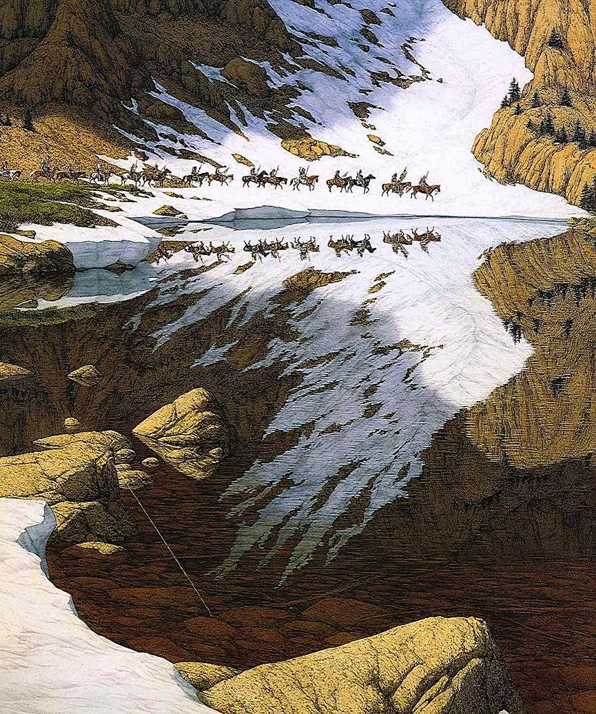 Bev Doolittle art, reflected snow eagle and horse riders
