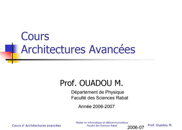 Cours Architectures Avancées PDF - Master en informatique et télécommunications