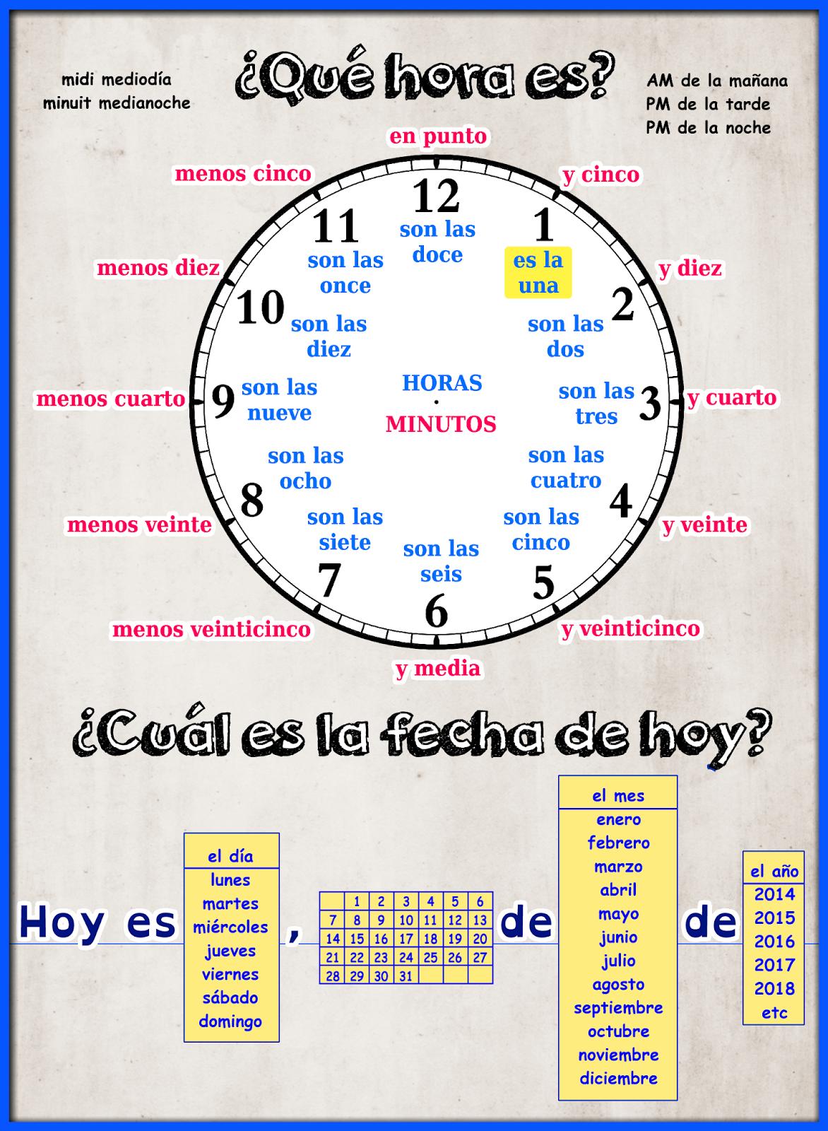 Me Encanta Escribir En Espanol La Hora Y La Fecha