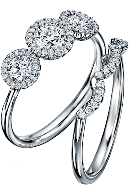 Andrew Geoghegan Cannelé Trois diamond wedding ring set #brilliantluxury