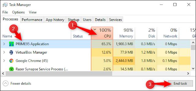 """انقر فوق العمود """"CPU"""" للفرز حسب استخدام وحدة المعالجة المركزية.  انقر فوق عملية لتحديدها ، ثم انقر فوق """"إنهاء المهمة""""."""