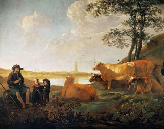 Альберт Кёйп - Пейзаж с пастухами и стадом на фоне Ренена. 1650-55