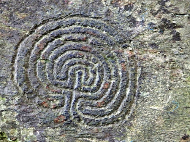 Ancient carvings on rocks at Rocky Valley, Cornwall