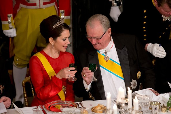 Crown Princess Mary of Denmark and Prince Henrik of Denmark attend a State Banquet at Fredensborg Palace