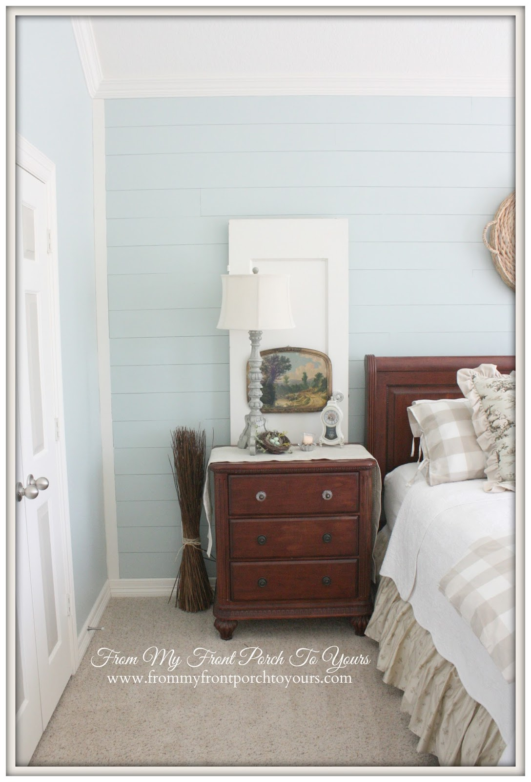 From My Front Porch To Yours- French Farmhouse Bedroom Makeover-Sherwin Williams 6211 Rainwashed