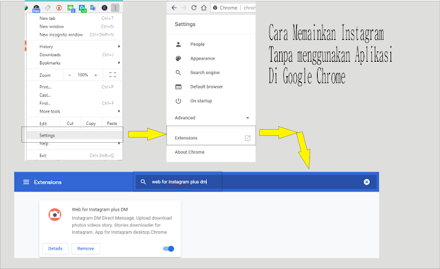Menggunakan web for instagram di Google Chrome