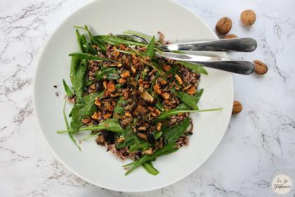Salade de champignons rôtis et de roquette sauvage