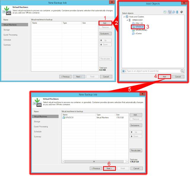 Seleccionar servidores en el nuevo trabajo de copia