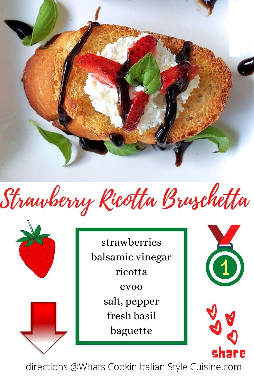 pin for later how to make strawberry ricotta bruschetta
