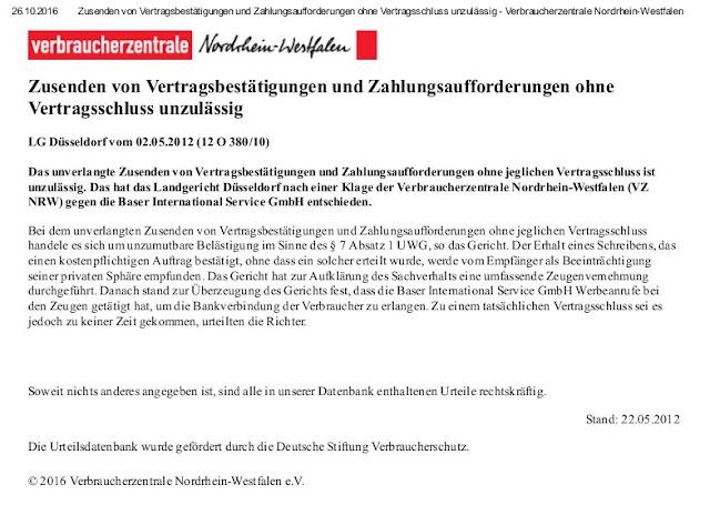 Verbraucherzentrale NRW | Baser International Service GmbH | 22.05.2012