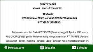 Pengumuman Penipuan yang Mengatasnamakan PT. TASPEN (Persero)