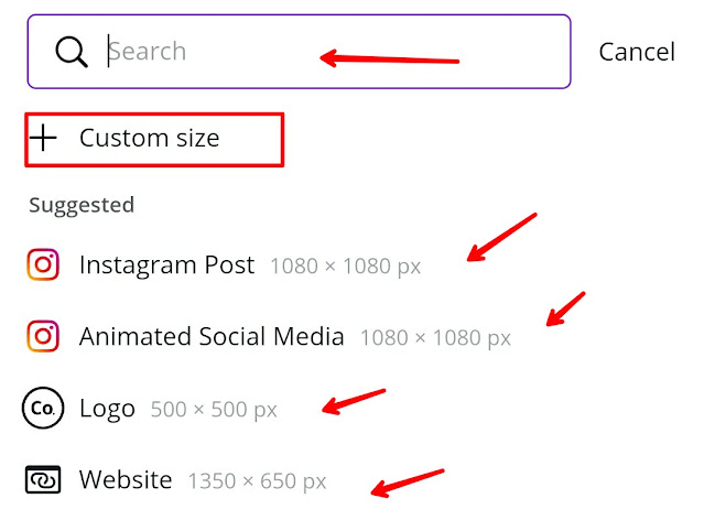 Customize size in canva app