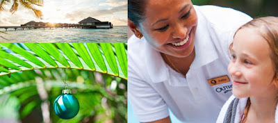 Source: The Outrigger Konotta Maldives Resort. Three in one collage with Christmas ornament, view of the Outrigger Konotta Maldives Resort, and staff smiling at a child.