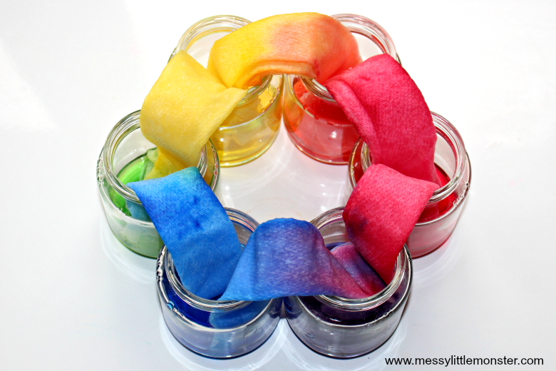 Rainbow Walking Water Science Experiment with printable worksheet