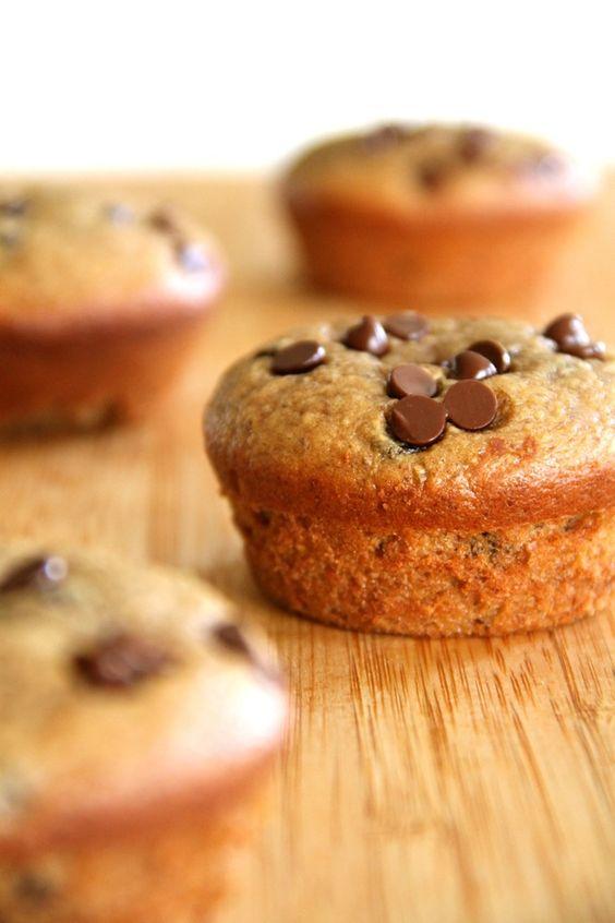 Flourless Chocolate Chip Almond Butter Muffins