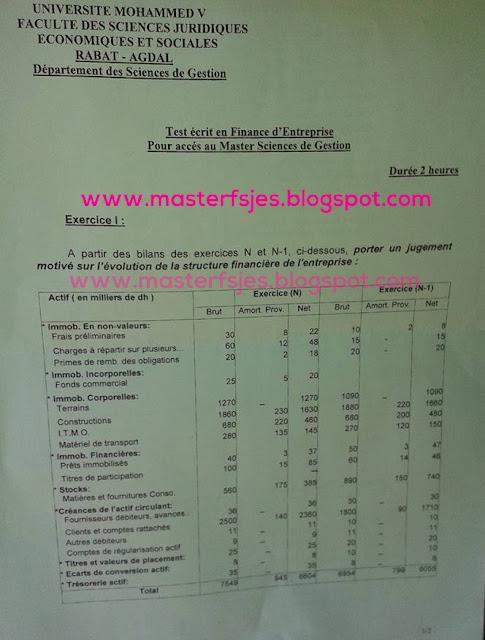 Concours d'accès au Master Sciences de Gestion