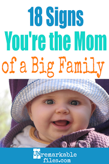 I can relate so hard to this big family humor. If you've had lots of babies then you will, too! Did you love these funny jokes about having a large family? Number 9 is my favorite. #bigfamily #largefamily #funny #hilarious #unremarkablefiles