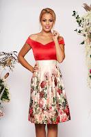 Rochie StarShinerS rosie scurta de ocazie in clos din satin