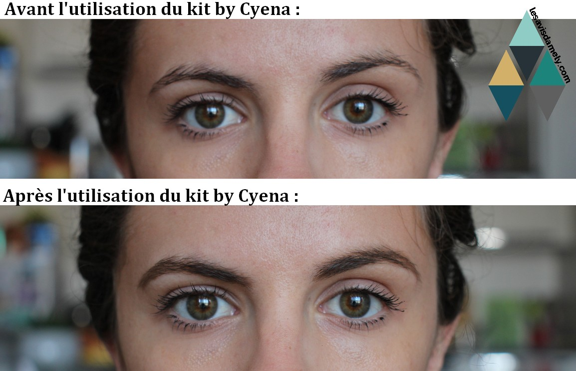 photo avant après maquillage sourcils utilisation cyena make up