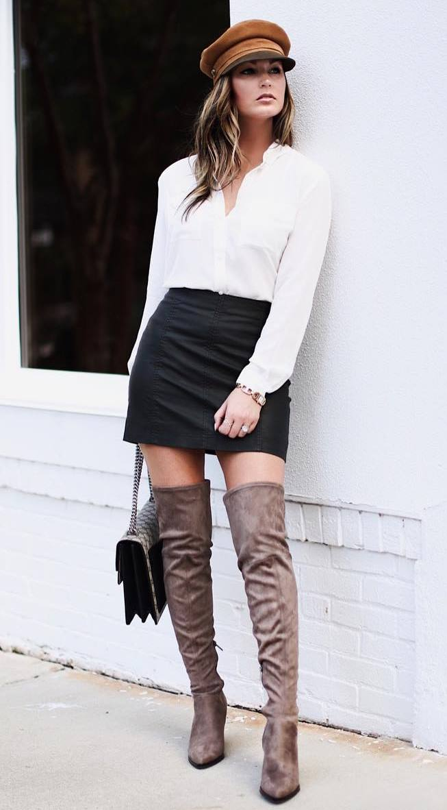 amazing fall outfit_white top + hat + bag + black skirt + over knee boots
