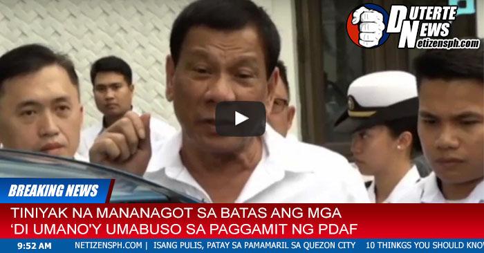 Nakakatakot na Banta ni Duterte sa Umaabuso sa PDAF. Must Watch!