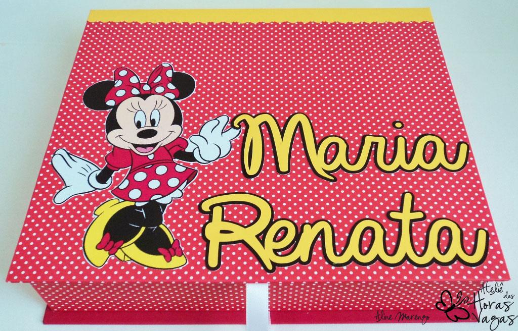 kit livro de mensagens caixa decorada personalizada minnie mouse poá vermelho branco amarelo aniversário festa scrapbooking disney