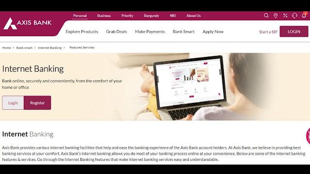 Axis Net Banking website