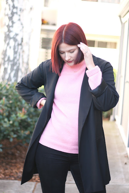 minimal outfit, nordstrom rack, fashion blogger, red hair, short red bob