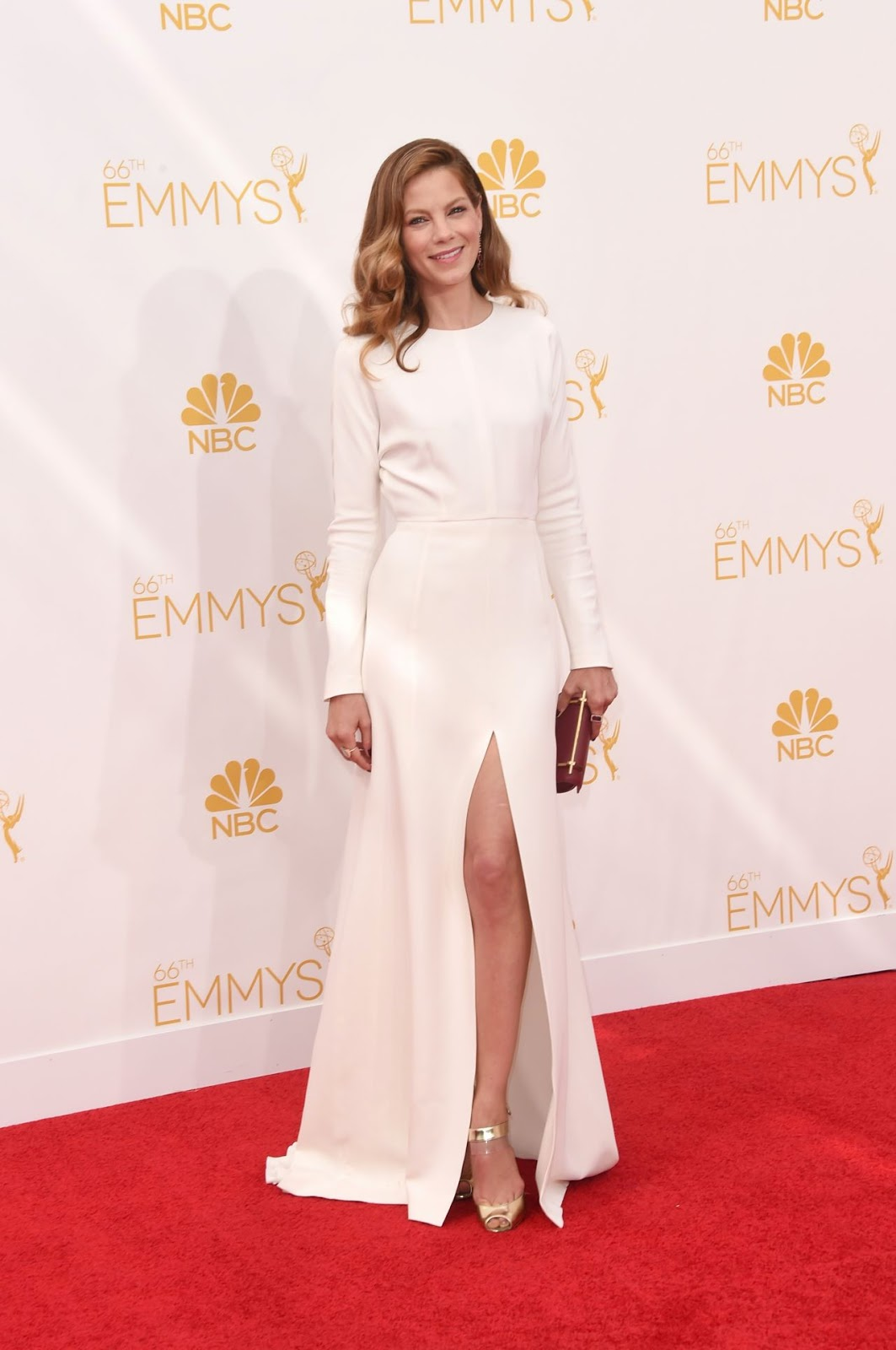 Michelle Monaghan shows off her legs in a high-slitted dress at the 2014 Emmy Awards