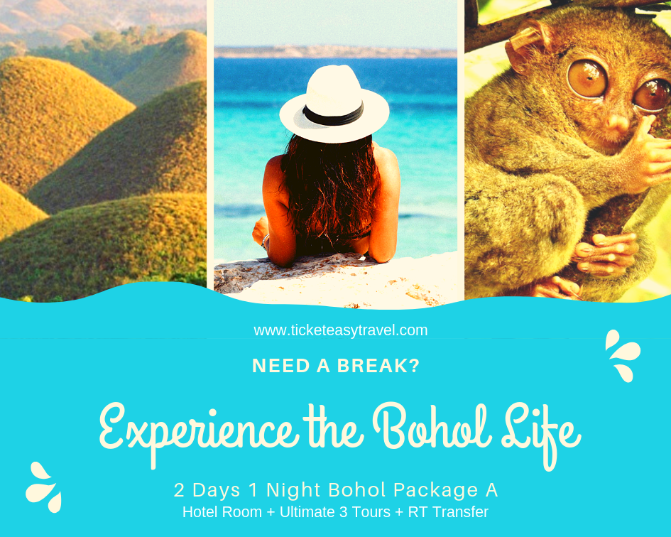 2 Days 1 Night Bohol Package A (Hotel Room + Ultimate 3 Tours + RT Transfer)