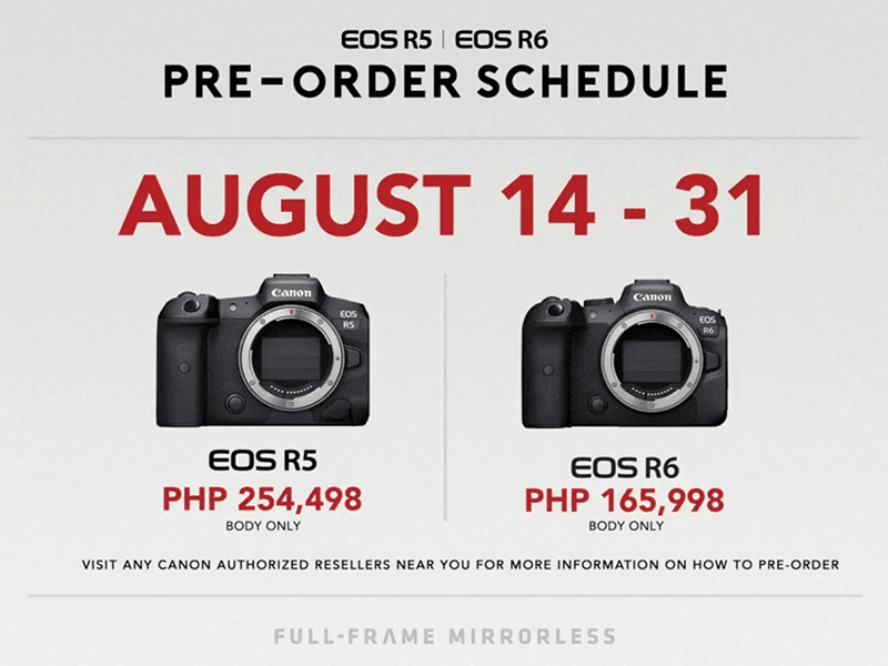 Canon EOS R5 and EOS R6 Philippine pricing