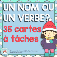 French Winters Noun or Verb Task Cards: cartes à tâches