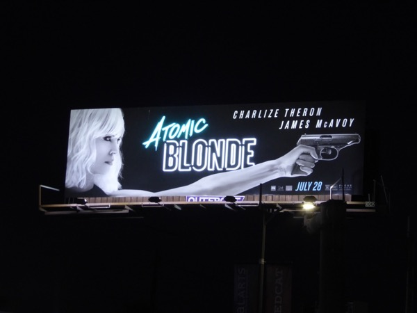 Atomic Blonde neon sign billboard night