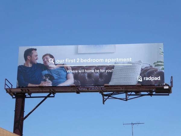 first 2 bed apartment gay couple RadPad billboard