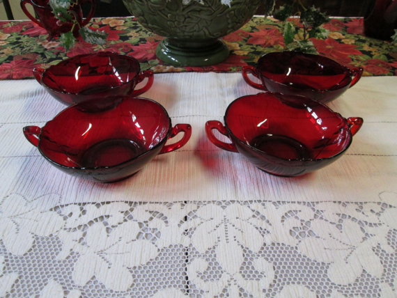 red glass bowls Etsy