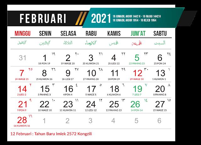 Preview Desain Template Kalender Bulan Februari