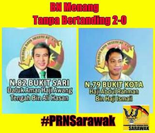 PRN Sarawak BN Menang Dua Kerusi Tanpa Bertanding