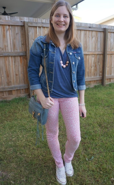 blue and pink outfit with neon leopard print skinny jeans wrap top denim jacket converse | awayfromtheblue