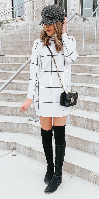 Look your best when you step out this holiday season. Here are 22 pure holiday style inspiration new ways to dress and impress in the upcoming christmas season. Holiday Fashion via higiggle.com | white sweater dress | #fashion #holiday #sweater #winter