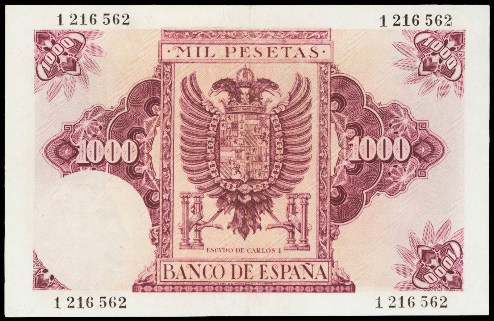 Spain currency 1000 Pesetas banknote 1940