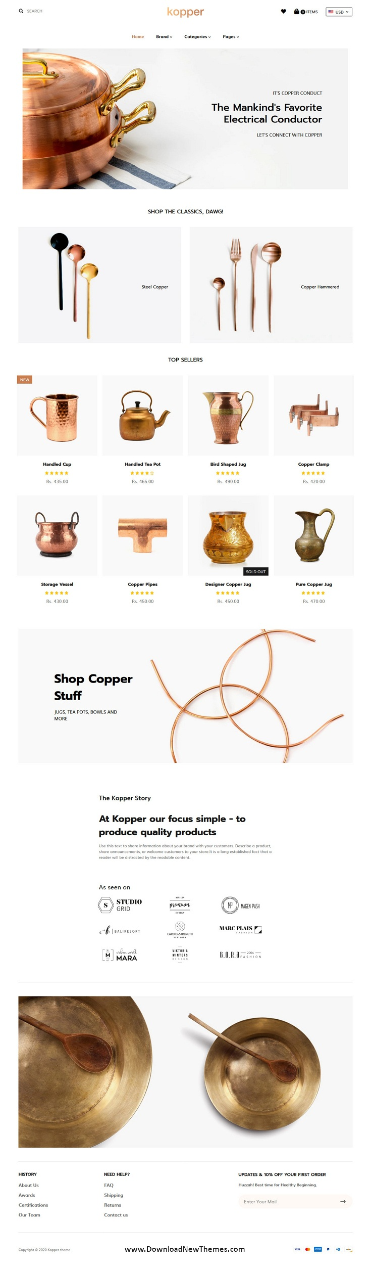 Copper Utensils & Appliances Shopify Theme