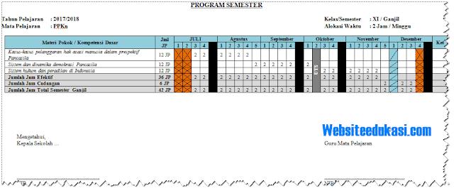 Prota Promes Kelas 11 SMA Kurikulum 2013 Revisi 2018 Lengkap
