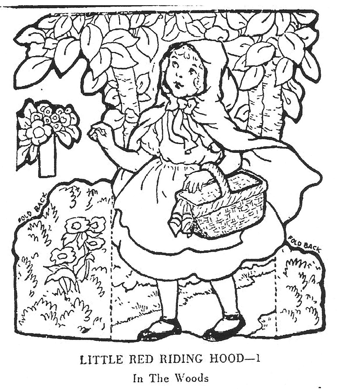 Mostly paper dolls little red riding hood junior editors for Red riding hood coloring pages