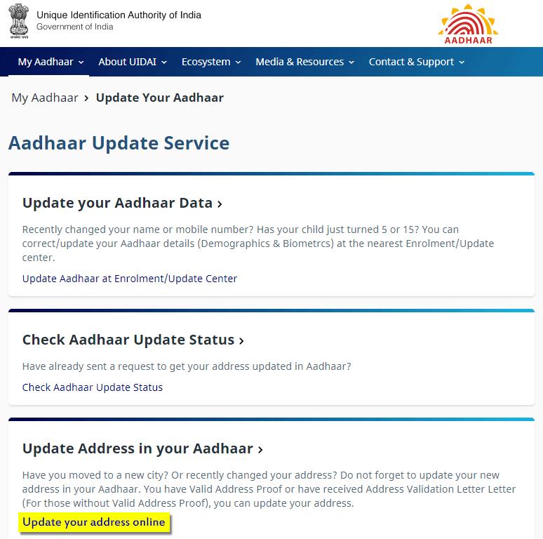 Online Address Update on Aadhar Card
