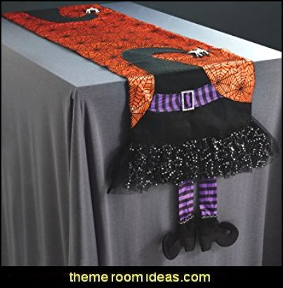 Orange Halloween Table Runner with Witch Hat, Dangling Witch Legs and Spiderwebs - Halloween Party Decoration